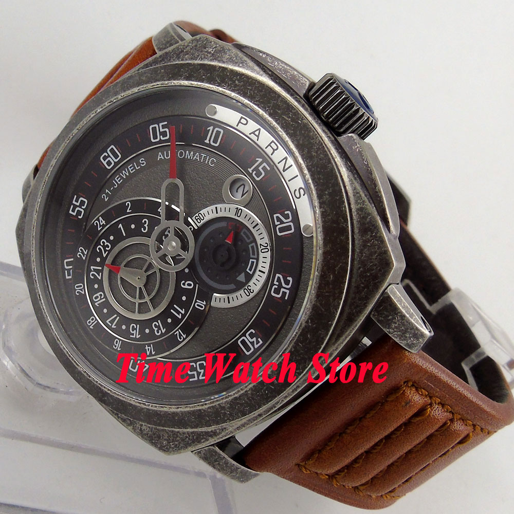 Vintage Parnis 44mm patterned case sapphire glass MIYOTA Automatic movement mens watch 789Vintage Parnis 44mm patterned case sapphire glass MIYOTA Automatic movement mens watch 789
