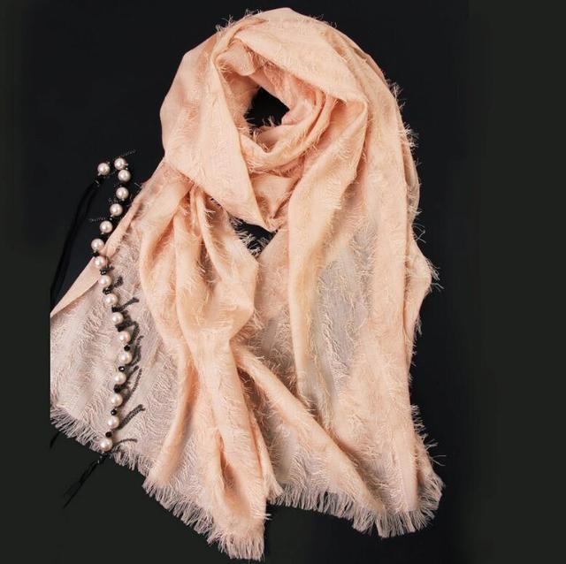 70%Wool 30%Silk Scarf Women Blended wool Scarfs Winter Spring pashmina shawls High Quality Natural Fabric