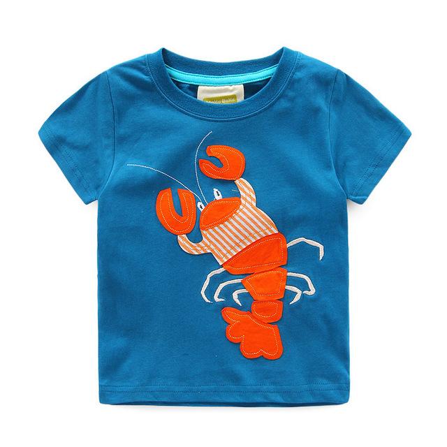 Estilo Camiseta de Los Niños Niñas niños Ropa de verano Ropa de la Marca niños camiseta de La Muchacha Del Muchacho Tees top de manga Corta langosta
