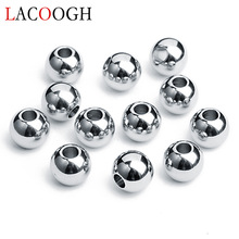 New Fashion 50pcs / lot 3/4/6/8 / 10mm Stainless Steel Big Hole Spacer Pärlor Silverfärgade Pärlor för Armband Smycken Making