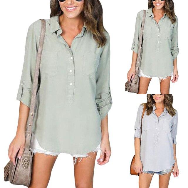 d371792138d US $7.75 |Vrouwen Shirts Losse Elegante Halve Lange Mouwen Chiffon Blouse  Dames Turn down Kraag Zakken Casual Tops Plus Size Blusas in Vrouwen Shirts  ...