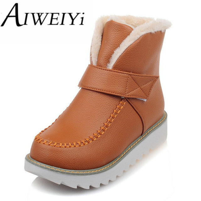 AIWEIYi Womens Big Size 34-43 Ankle Boots Round toe Gladiator Shoes Fur Warm Winter Shoes Keep Warm Snow Boots Botas