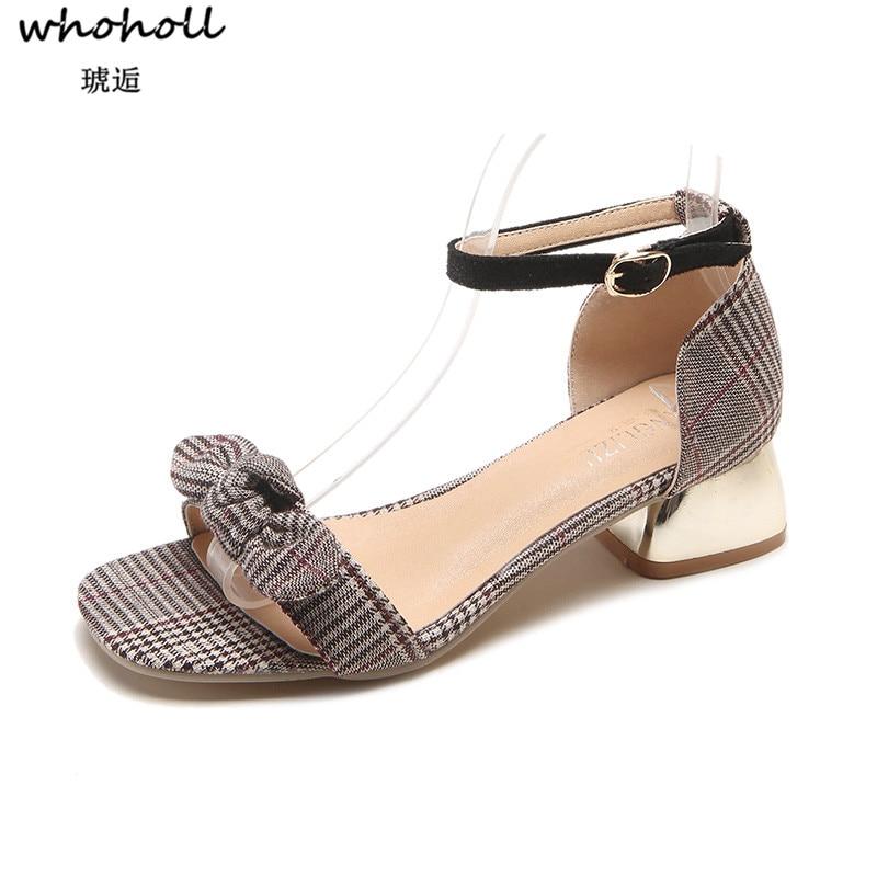 Whoholl Summer Women Sandals Open Toe Black Gray Flip Flops Womens Sandles Thick Heel Women Shoes Korean Style Gladiator Shoes