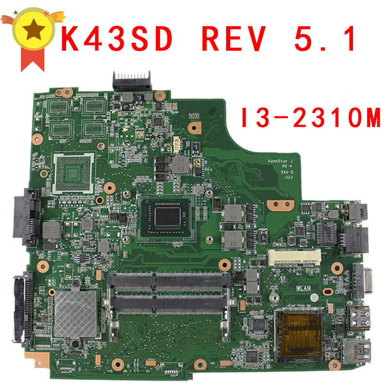For ASUS A43e P43E K43E Motherboard K43SD REV5.0 Mainboard With i3 Processor 100% tested OK for asus k43sd laptop motherboard processor i3 8 memory 2g mainboard 100