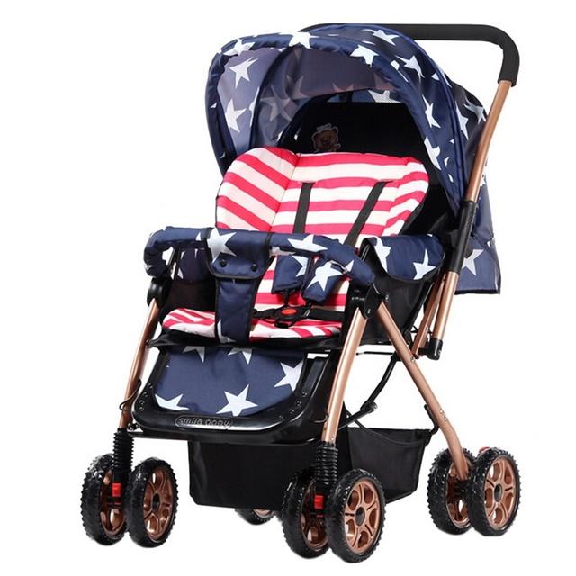 Venda quente Carrinho De Bebê Portátil Dobrável Carrinho de Bebê Carrinho de Bebé Leve 4 Rodas Carrinho À Prova de Choque Único Assento Carrinho De Bebê De Viagens