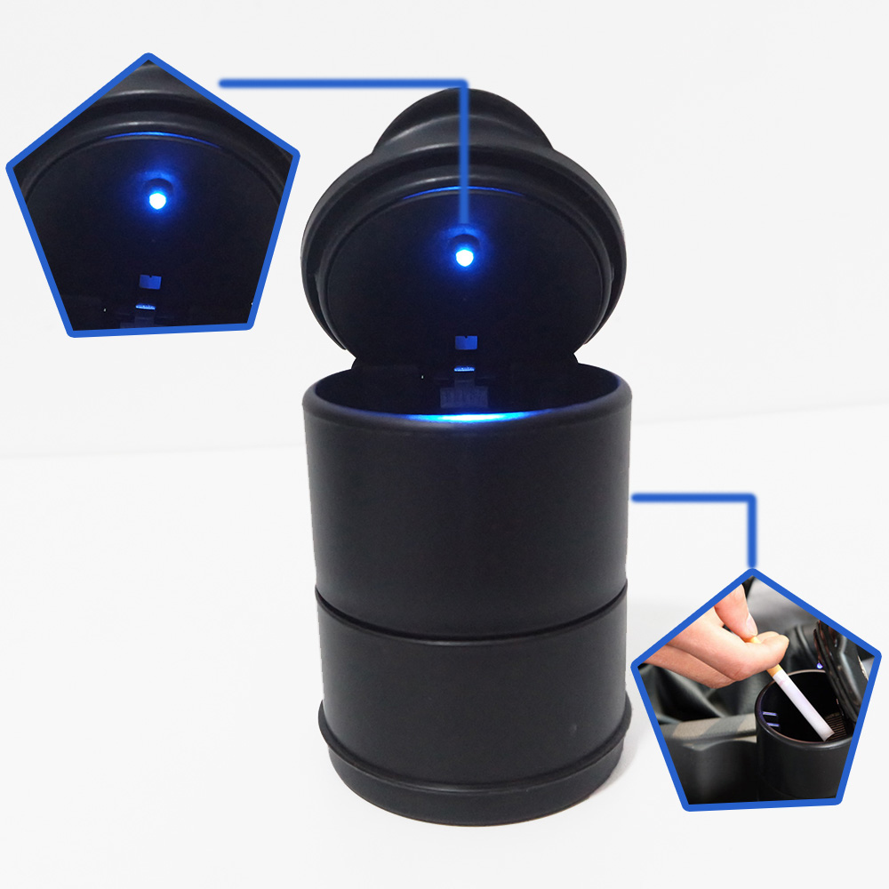 LED Portable voiture porte-cendrier tasse voitures noires haute ignifuge poubelle lumière automatique Mini simplecorbeille avec lumière