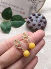 Certificated Real 925 sterling silver fine jewelry natural 7.8mm chicken oil yellow beeswax earrings for women