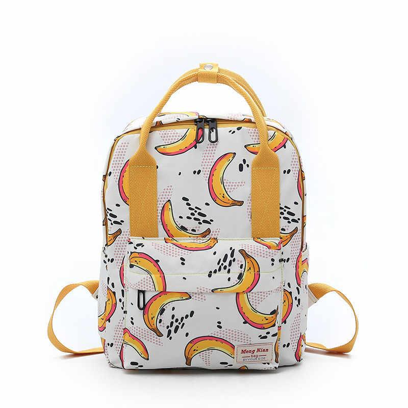 02c88870f6d Cute Fresh Lemon Banana Fruit Printing Bagpack Laptop Bag Big Women Nylon  Waterproof Backpacks Kanken Mochilas
