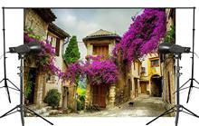 Beautiful Provence Village Photography Background Purple Lavender Scenery Broken House Backdrop Wedding Landscape