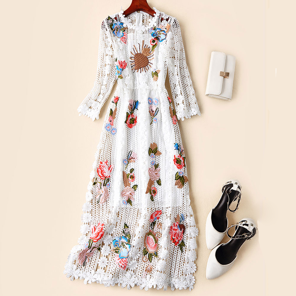 Red RoosaRosee Women Summer 2019 High Quality Embroidery Floral Slim Sexy Placket Party Midi Dresses Black