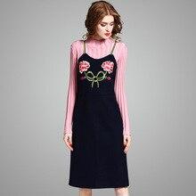 Новое поступление 2017 г. брендовые модные осень-зима платье комплект Для женщин с длинным рукавом Трикотажный пуловер свитер и Вышивка шерстяное платье