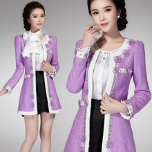 Lace embroidery woolen outerwear female medium-long 2016 autumn and winter flower beading elegant slim woolen overcoat jacket