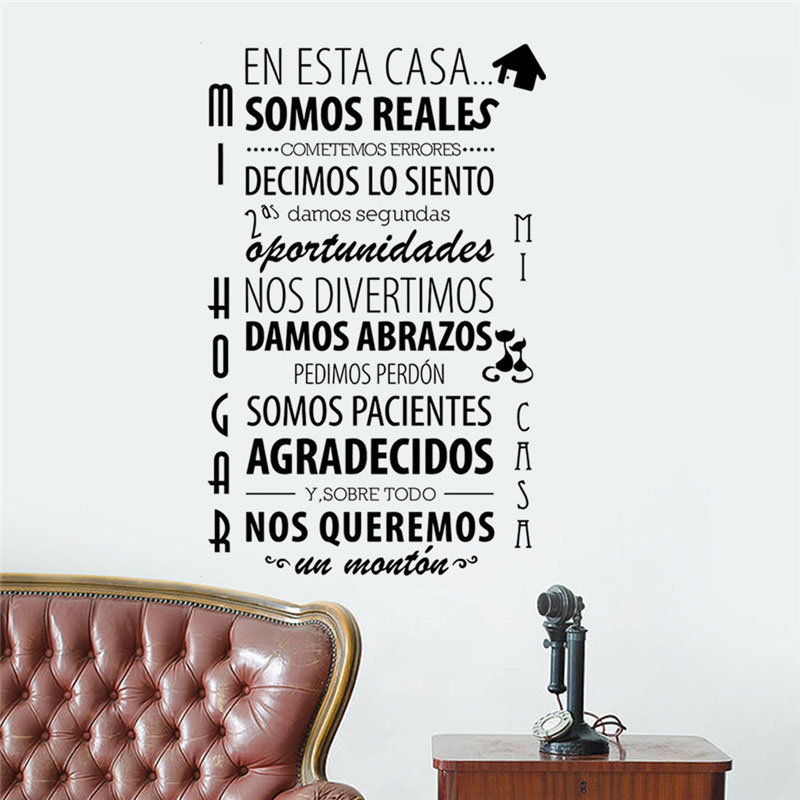 In This House Wall Stickers Spanish Text Home Decor Living Room Wall Decals Vinyl Removable Character Sticker removable go big or go home proverb room office wall stickers