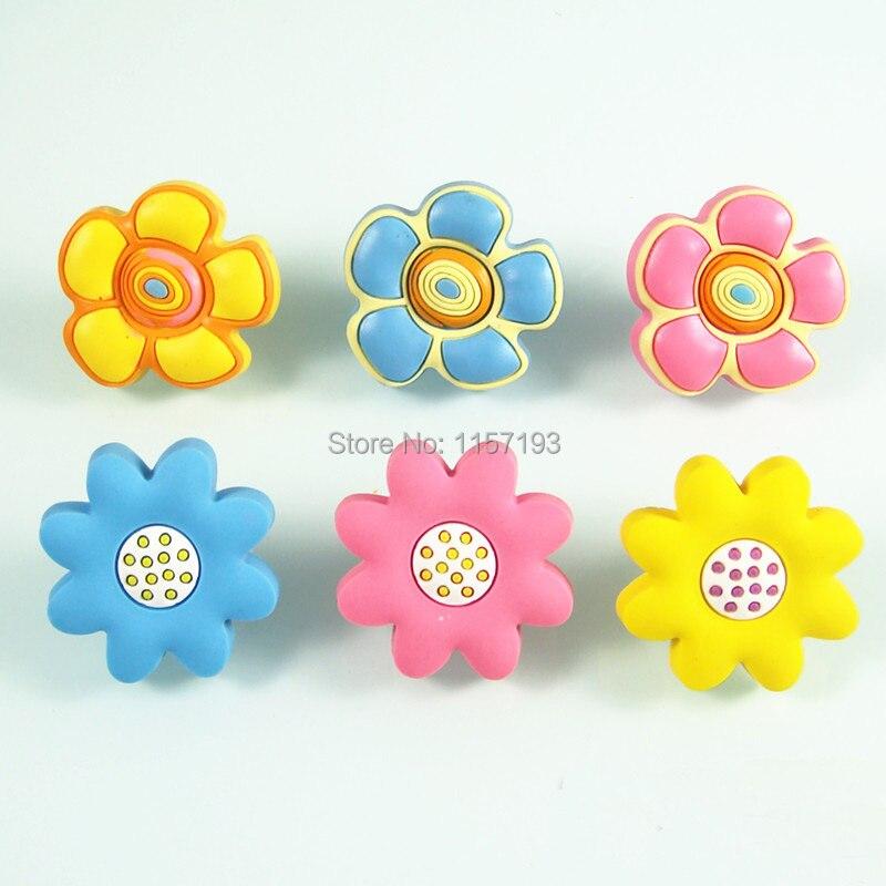 Soft pvc furniture handle for children room flower knobs for Children s bureau knobs