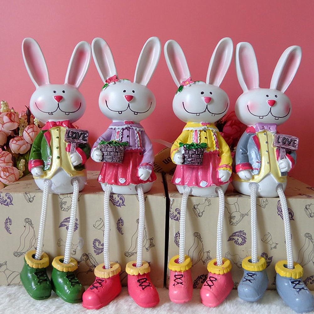 Resin Feet Hanging Rabbit Home Table Ornament Creative Kid Gift DIY Handcraft Family Figurine birthday kids gift