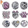 925 Corazón de Plata Esterlina Encantos Cristalinos con Huella, mariposa, Minnie Beads Fit Pandora Pulsera Brazalete Collar de La Joyería DIY
