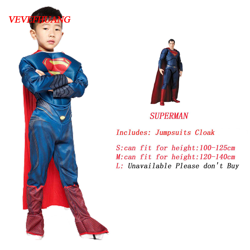 VEVEFHUANG Muscle Superman Cosplay Costume For Kids Halloween Costume Superman Clothes For Boys New Year Gift With Cloak