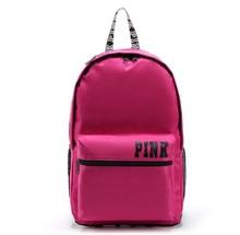 ROSE Femmes Toile Shopping BCKPACK Fourre-Tout VS Zipper Épaule Polyvalent Sac Vacances D'été Plage Kiple lettre sac bolsos