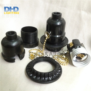 Image 4 - 50units/set black bakelite light sockets with chain switch or key switch E27 lamp holders black plastic lighting sockets