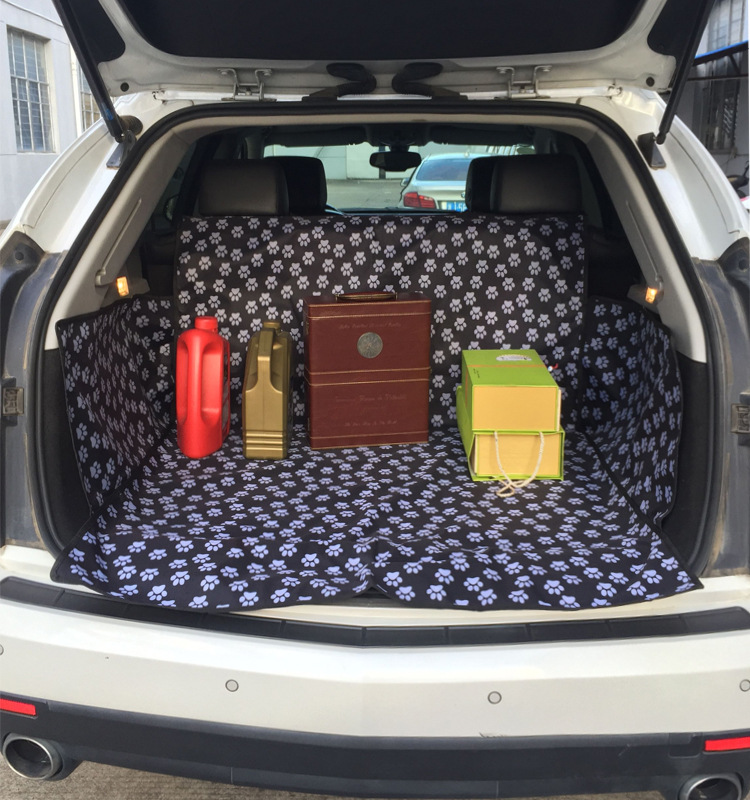 Dog Car Trunk Cushion Protector Paw pattern Footprint Oxford Fabric Waterproof Pet Seat Cover Mat Pad Blanket Travel Accessories