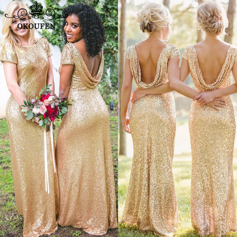 Sparkling Sequined   Bridesmaid     Dresses   Long For Women 2019 Wholesale Price Mermaid Maid Of Honor   Dress   Party Formal Gown