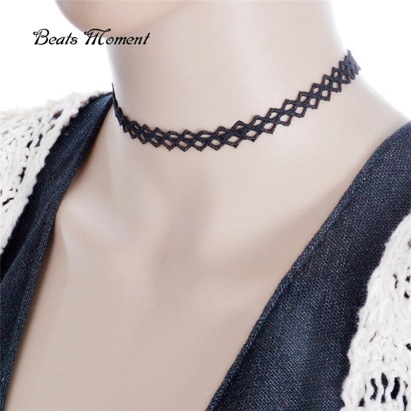 White chokers lace ribbon leather jewelry
