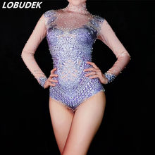 Nightclub Female Costume Purple Crystals Bodysuit Glisten Rhinestones Jumpsuit Evening Performance Sexy Bar DJ Dance Stage Wear(China)