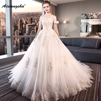 2018 Newest Princess Court Train Appliques V Neck Short Sleeve Lace up Ball Gown Customized Royal Marriage Wedding Gowns