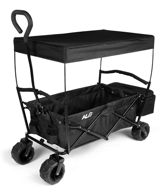 HLC Collapsible Folding Utility Wagon Garden Shopping Cart With A Cover,  Black With Free Diving