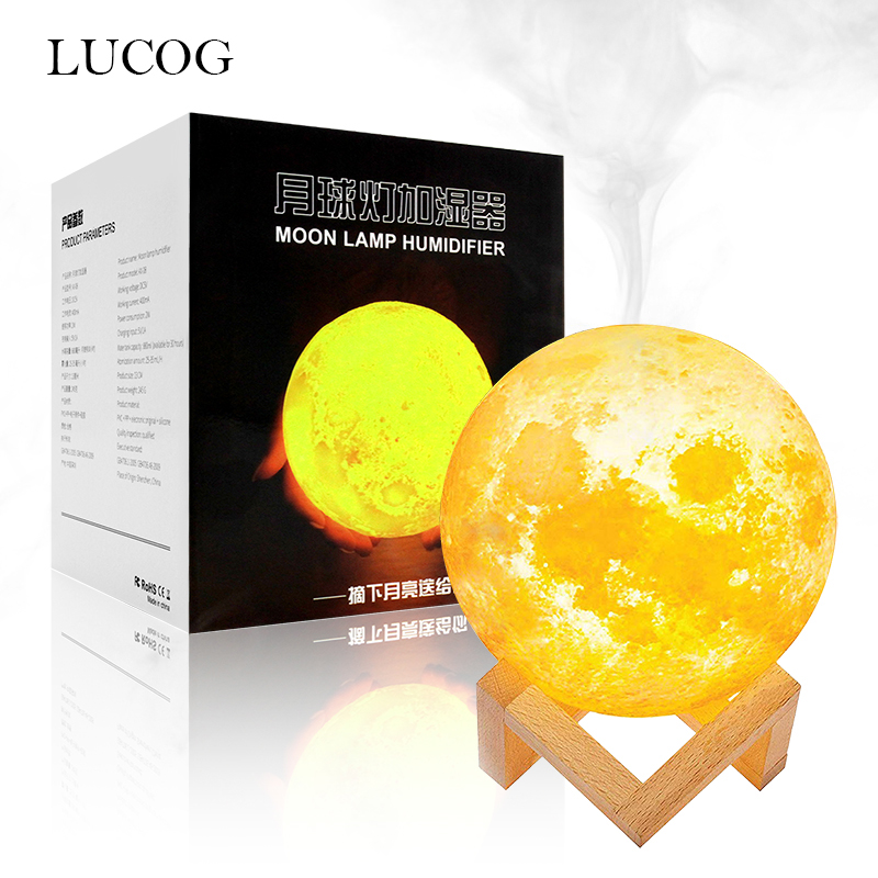 LUCOG 880ML Air Humidifier 3D Moon Night Lights Diffuser Aroma Essential Oil USB Ultrasonic Humidificador Cool Mist PurifierLUCOG 880ML Air Humidifier 3D Moon Night Lights Diffuser Aroma Essential Oil USB Ultrasonic Humidificador Cool Mist Purifier