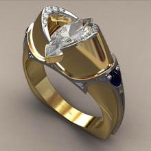 Luxury Male Female Big CZ Stone Ring 18KT Yellow Gold Weddin