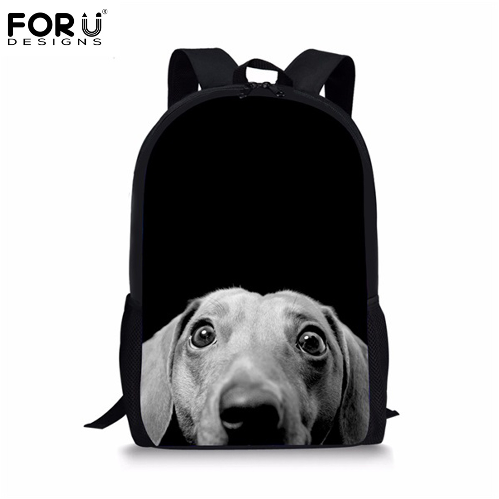 FORUDESIGNS Cute Dachshund Dog School Bags for Teenager Girls Casual Canvas Kids School Book Shoulder Bag Childrens Backpack