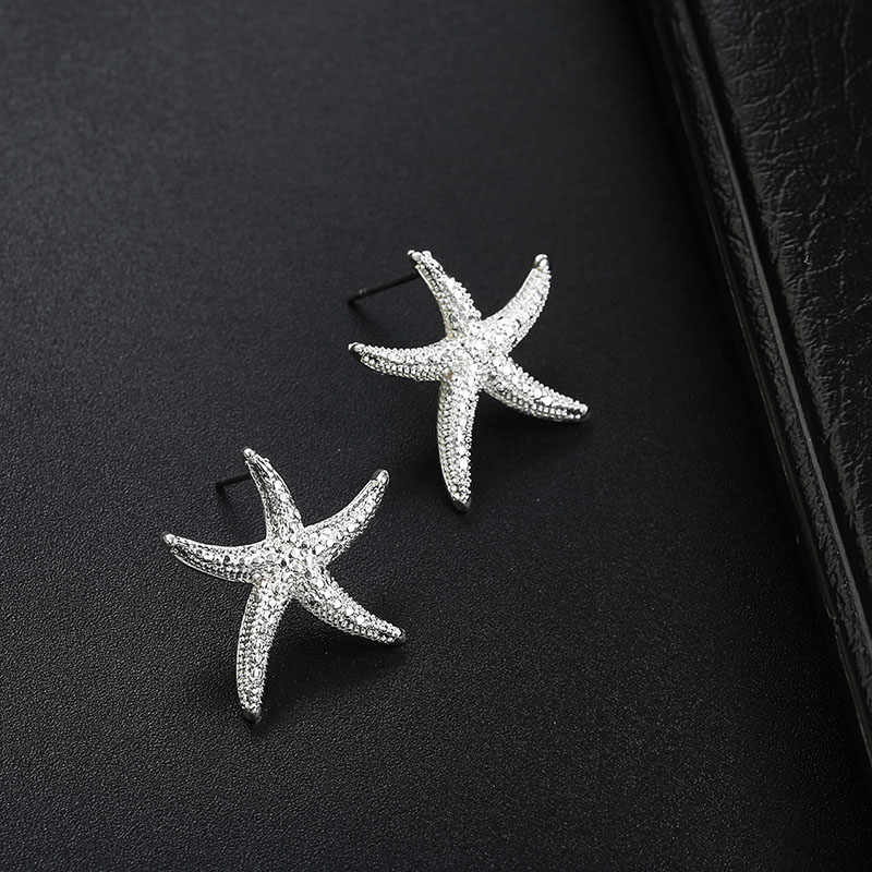 Korean style Starfish Stud Silver Black Color Earrings For Women  fashion jewelry for women party brincos femin dropshipping