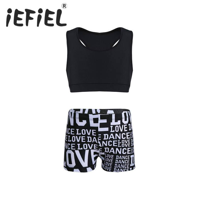 iEFiEL Girls Tankini Outfit Tank Top with Letters Printed Bottoms Set for Ballet Dance Gymnastics Leotard Ballerina Gym Workout