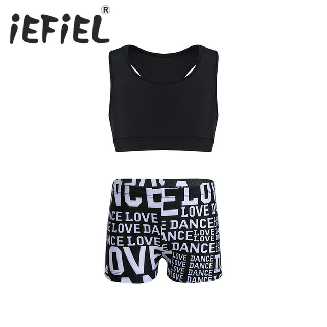 ecd38bb9b36 iEFiEL Girls Tankini Outfit Tank Top with Letters Printed Bottoms Set for Ballet  Dance Gymnastics Leotard Ballerina Gym Workout