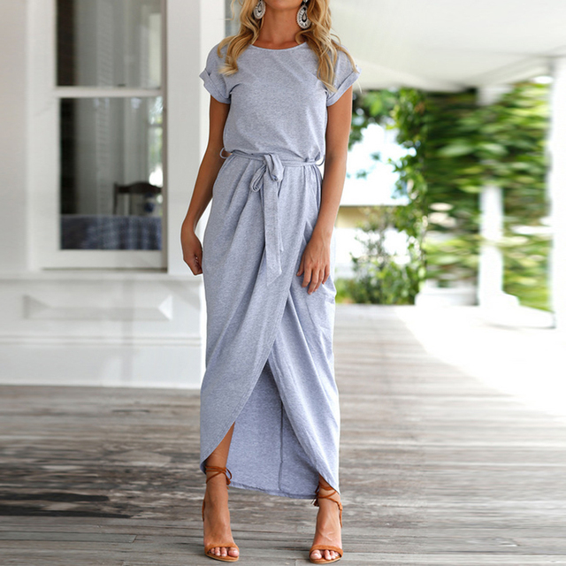 AIEnny Summer Long Maxi Dress Elegant Women Lace Up O-Neck Short Sleeve Party Dress
