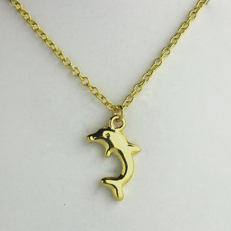 solid jumping dolphin hoop gold pendant necklace
