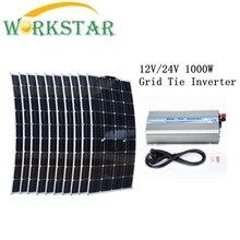 10 100W Flexible Solar Panels Solar Module with 1000W Grid Tie Pure Sine Wave Inverter 1000W