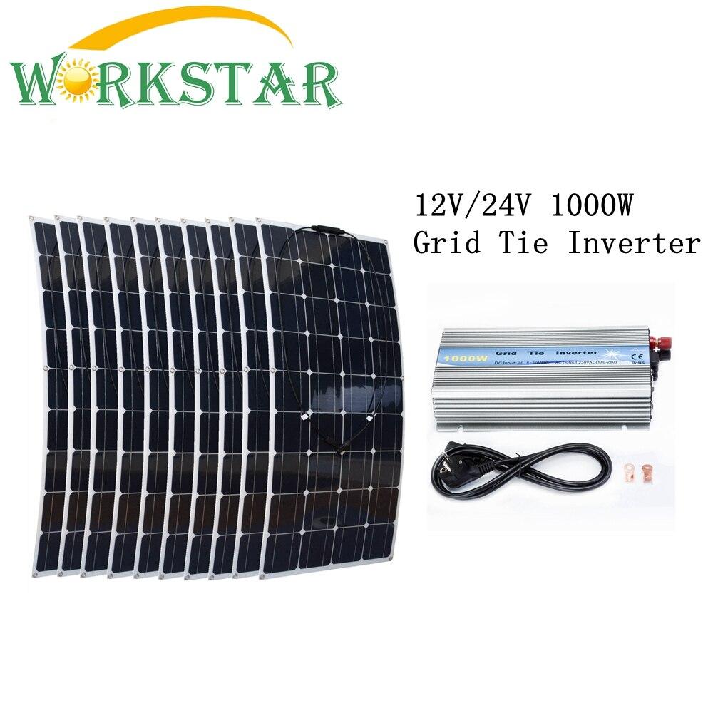 10*100W Flexible Solar Panels Solar Module with 1000W Grid Tie Pure Sine Wave Inverter 1000W Houseuse Grid Tie Solar System