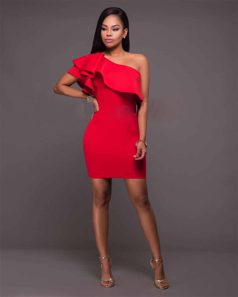 893f030196bc One Shoulder Ruffles Club Dresses Red Off Shoulder Party Night Club Mini  Dress Sleeveless Vestidos Sexy Clubwear Femme Jupe Robe-in Dresses from  Women s …