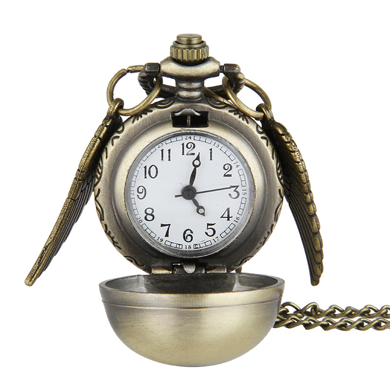 Vintage Ball Pocket Watch Wings Smooth Spherical Pendant with Necklace Men Women Quartz Watches Sweater Chain Accessories Gifts vintage bird wings necklace for women