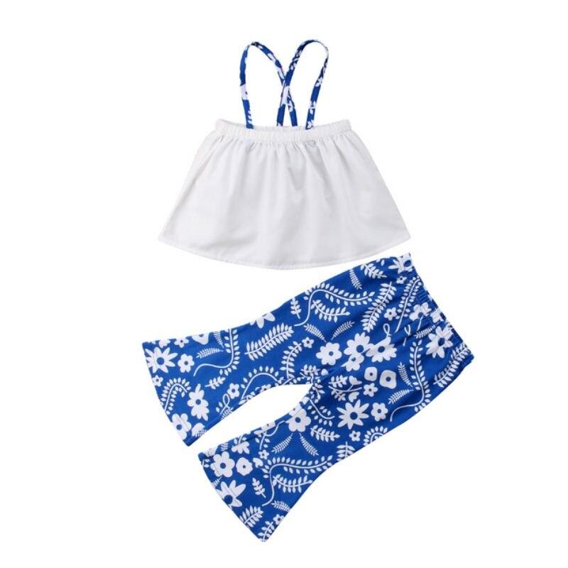 Для новорожденных младенец детская одежда для девочек ремень с плеча топы + цветочные длинные брюки-клеш Детские Костюмы комплект