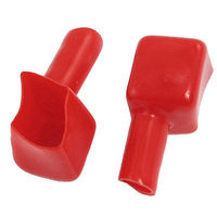 Car Square Mouth Battery Cable Terminals Sleeves Boots Red 10 Pcs