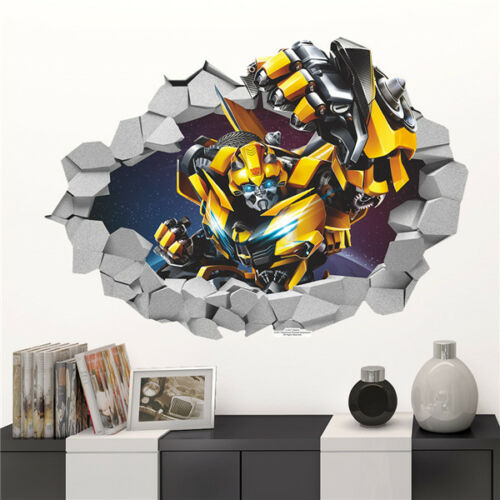 Cartoon 3D Bumblebee Transformers Decal Break Wall Sticker Kids Room Decor PVC