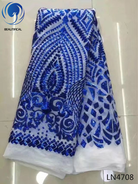 BEAUTIFICAL african lace fabrics royal blue sequins embroidery net lace fabric for big occaison Fashion french lace fabric LN47