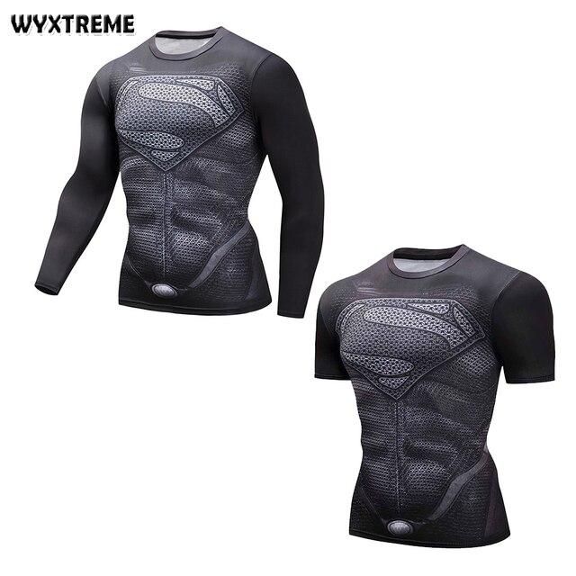 Navio livre De Impressão De Fitness Superman T-shirt Camiseta De Compressão Camisas de Super-heróis Musculação MMA Rashguard Top Roupas Masculinas 2018