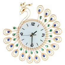 Digital wall clock Luxury Diamond Peacock Large decorative Wall Clocks Metal Living Room Needle clock mechanism Home Decor