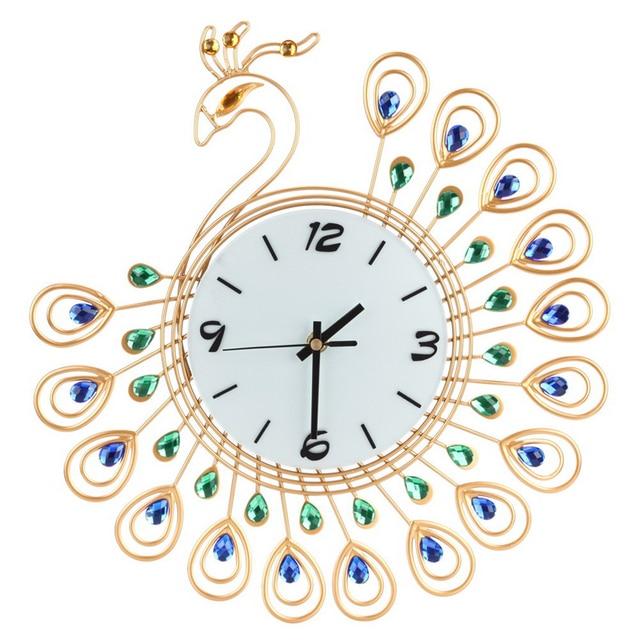 Digital wall clock Luxury Diamond Peacock Large decorative Wall Clocks  Metal Living Room Needle clock mechanism Home Decor e87c12a4b9