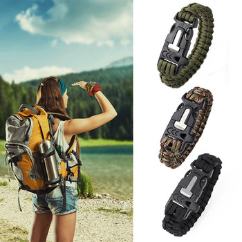 New Camping Hiking Climbing Paracord Bracelet Outdoor Survival Gear Kit Whistle Lifesaving Braided Rope Tactical Wrist Band 1