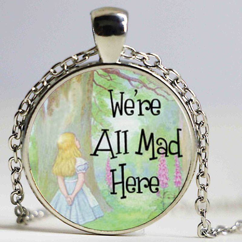 Wiccan coexist necklace love wicca jewelry glass dome pendant 1pcs alice in wonderland were all mad here neckl aloadofball Gallery